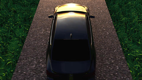 3D rendering car moves on asphalt road with green grass. Computer generated GIF