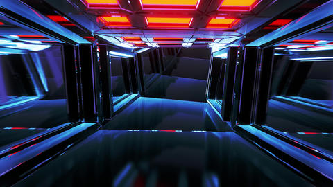 realistic glass tunnel corridor with wireframe contur 3d illustration live Animation