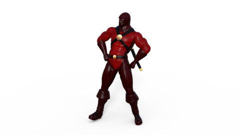 3d character superhero stands and looks around, animation, transparent Archivo