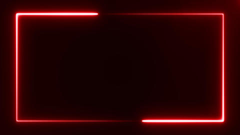 beautiful bright red light neon rectangle frame on black background, abstract Footage