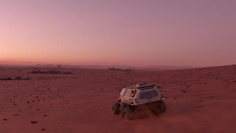 Mars rover with colonists travelling across the surface of Mars at dusk Live Action