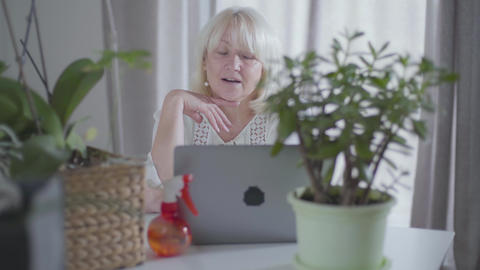 Portrait of thoughtful senior Caucasian woman sitting with laptop at home and Footage