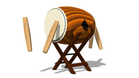 Loopable Asian Drum And Sticks On White Background Animation