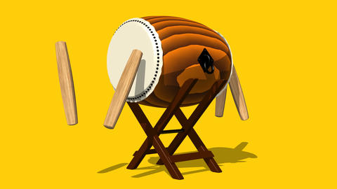 Loopable Asian Drum And Sticks On Yellow Background Animation