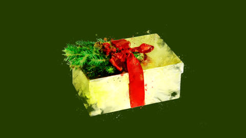 Watercolor Christmas tree decoration - fir twig on a box, on the alpha channel Animation