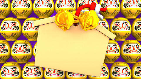 Yellow Daruma Dolls And Votive Picture On Purple Background Videos animados