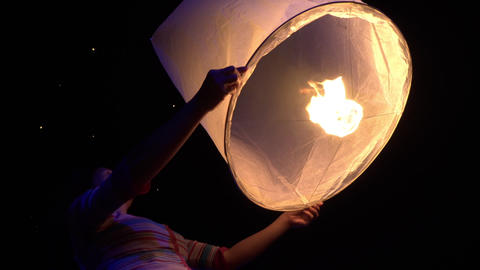 Asian Woman Releases A Sky Lantern Footage