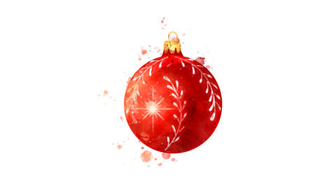 Watercolor Christmas tree decoration - red ball, on the alpha channel Animation