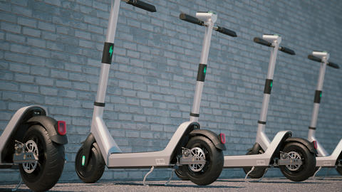 Camera animation along of modern Electric scooters parked in a row GIF