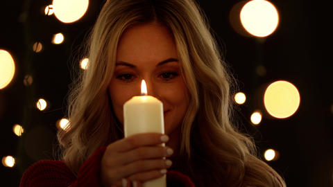 Attractive Woman Holding A Candle Footage