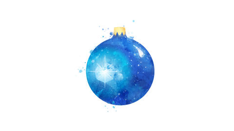 Watercolor Christmas tree decoration - blue ball, on the alpha channel Animation