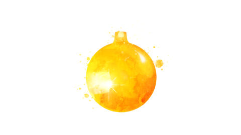 Watercolor Christmas tree decoration - golden ball, on the alpha channel CG動画