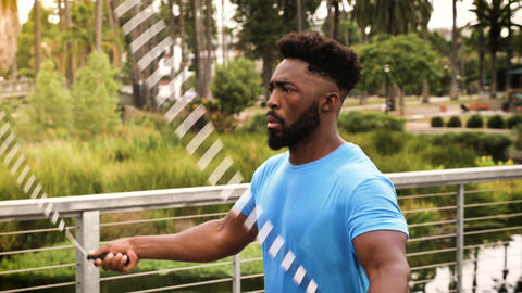 Athlete man working out in the park Footage