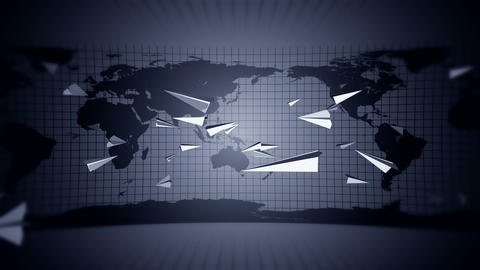 Internet mail symbol. Animation of flowing white paper plane around earth. Handmade origami. Global CG動画