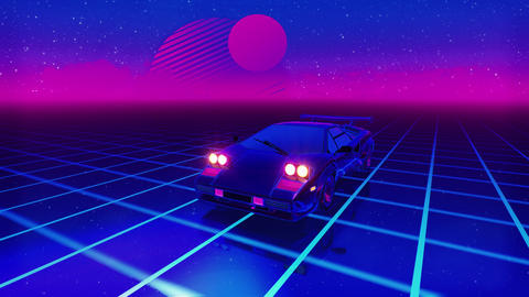 1980's Sports car speeding in neon grid. 4k Animation