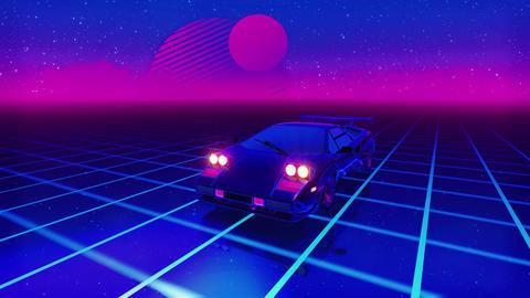 1980's Sports car speeding in neon grid. 4k CG動画