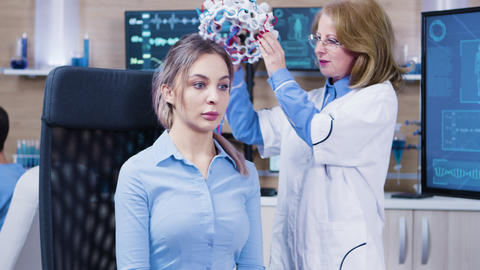 Middle age female doctor in a modern neuroscience clinic Footage