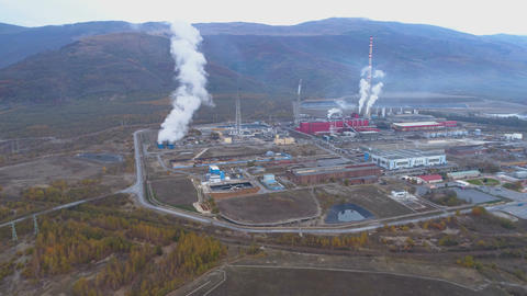 Pollution smoke coming out from smokestack of copper smelter refinery Footage