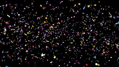 Colorful confetti of various shapes falling with alpha channel Footage