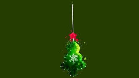 Watercolor Christmas tree decoration - green fir tree on the alpha channel Animation
