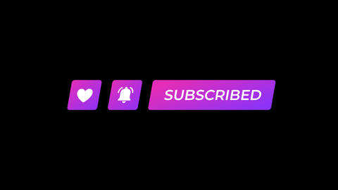 Skewed Purple Gradient Like Notifications and Subscribe Icons with Luma Matte Animation