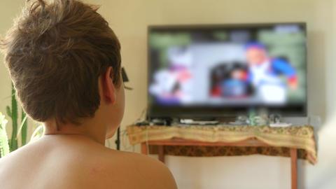 Child Boy Watching TV Footage
