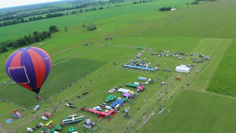 Aerial view of air show zone, balloon and horizon. Passenger pov Footage