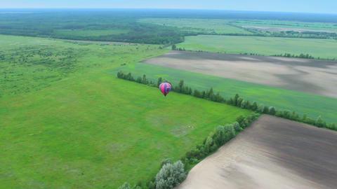 Beautiful aerial landscape view shot, blue horizon, suburb, air balloon pov Footage