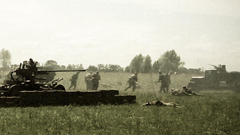 Vintage shots second world war, reconstruction. Soviet, German soldiers Footage