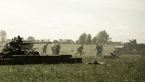 Vintage shots second world war, reconstruction. Soviet, German soldiers Footage
