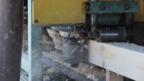 Wood forming machine forms the wood chip for house building Footage
