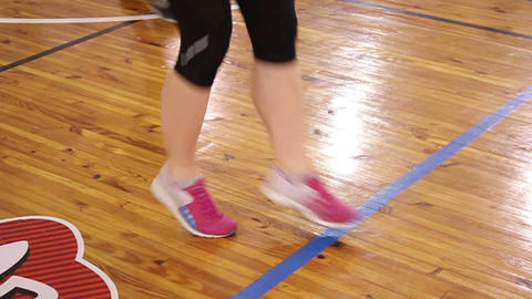 Female feet running and jogging in gym Footage