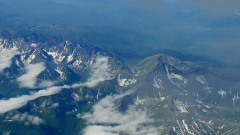 Flying over fold mountains in kamchatka aerial Footage