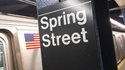 Subway Train Leaves the Spring Street Station Footage