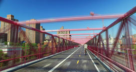 Timelapse View Pedestrian Sidewalk on Williamsburg Bridge Footage