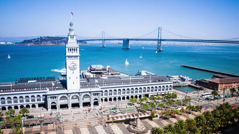 Time Lapse - San Francisco Ferry Building with ferries arrive and depart and the Footage