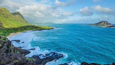 Time Lapse - Beautiful Clouds Moving Over Coastline of Oahu, Hawaii Footage
