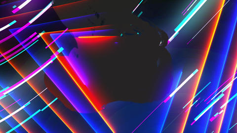 Neon composition with bright shapes like neon tunnel is in the dark space, 3d GIF
