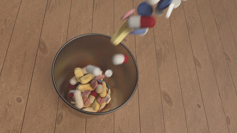 pain killers in a glass Animation