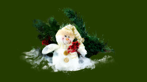 Watercolor Christmas tree decoration - snowman, fir twig, on the alpha channel Animation