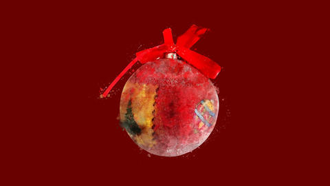 Watercolor Christmas tree decoration - ball with bow, on the alpha channel CG動画