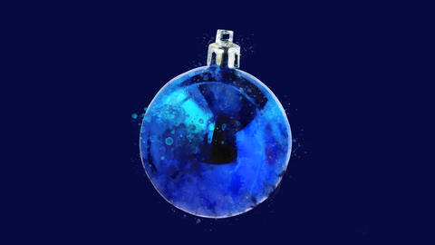Watercolor Christmas tree decoration - navy ball, on the alpha channel CG動画