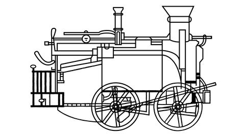 An animated drawing of a steam locomotive in the style of Leonardo da Vinci Videos animados