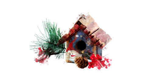 Watercolor Christmas tree decoration - winter toy house, on the alpha channel Animation