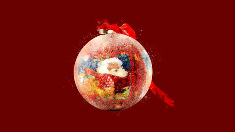 Watercolor Christmas tree decoration - ball with Santa, on the alpha channel CG動画