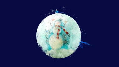 Watercolor Christmas tree decoration - ball with snowman, on the alpha channel CG動画