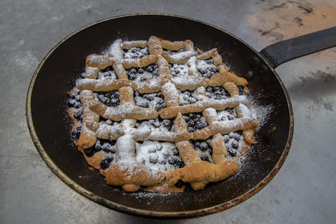 Blueberry pie baked in a pan, cooked in a mobile oven Photo