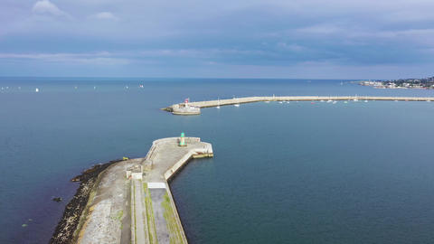 Aerial view of sailing boats, ships and yachts in Dun Laoghaire marina harbour Footage