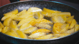 Potatoes Fried in oil. Cooking fried potatoes GIF