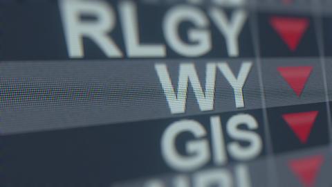 WEYERHAEUSER WY stock ticker with decreasing arrow. Editorial crisis related GIF